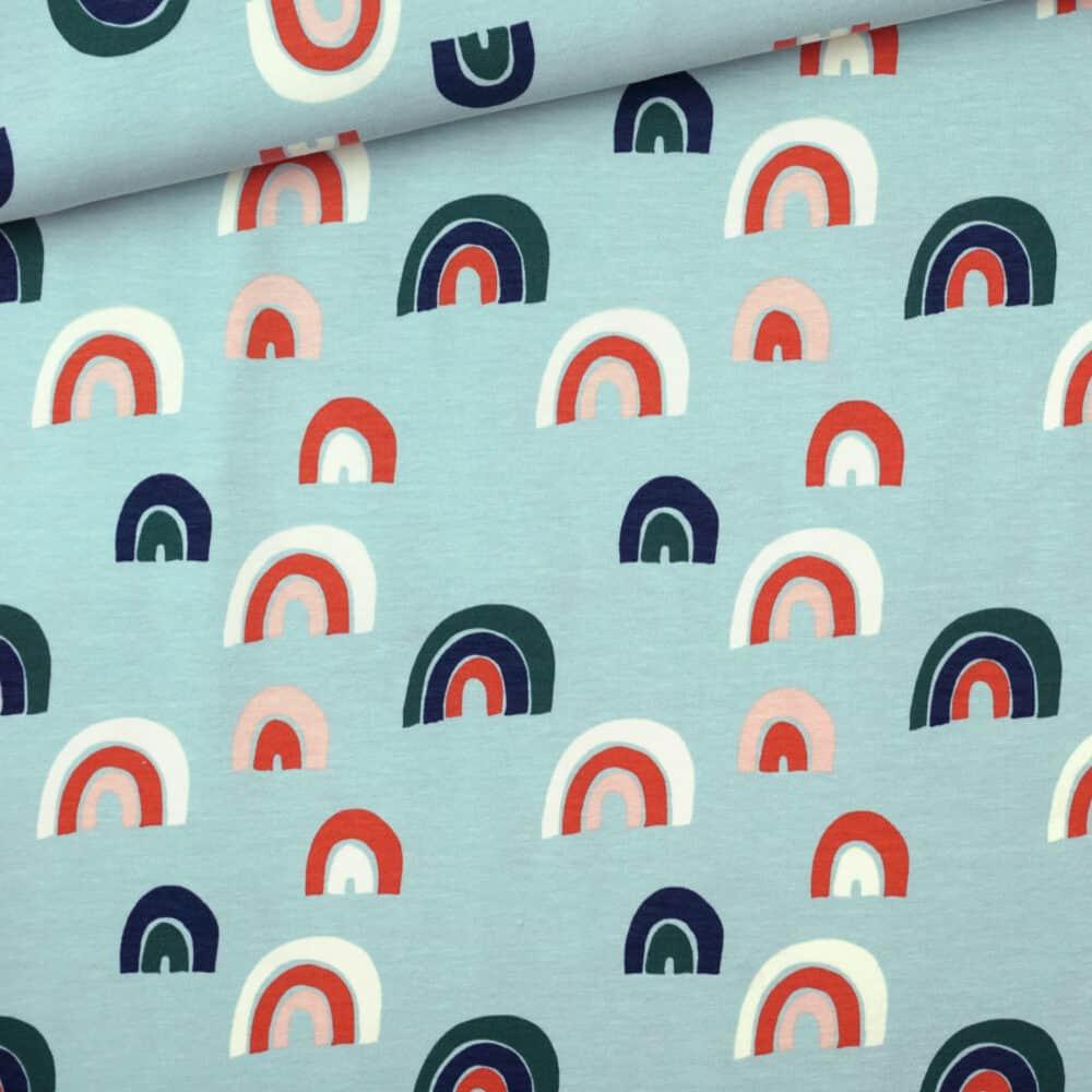 Bio-Jersey - Regenbögen hellblau - Elvelyckan Design
