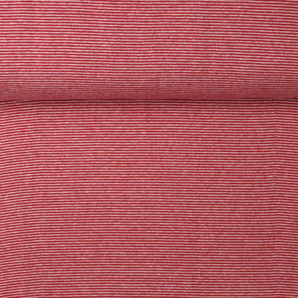 Bündchen - Mini-Streifen rot