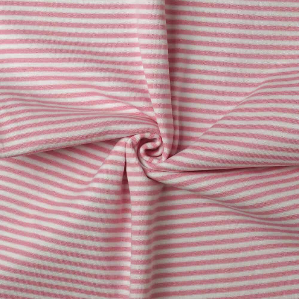 Bündchen - Streifen weiß-rosa