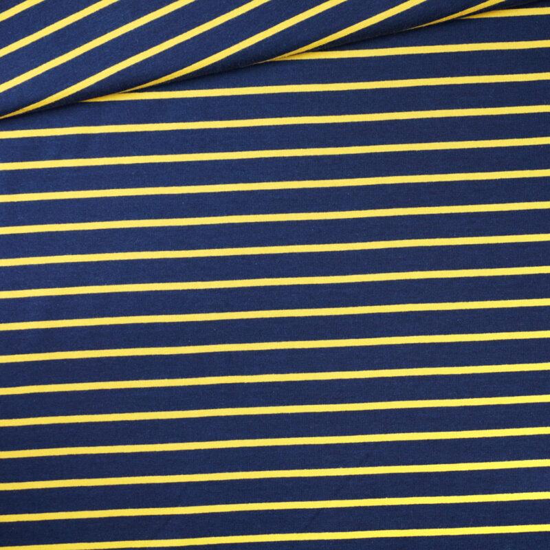 French Terry - Streifen Blau-Gelb