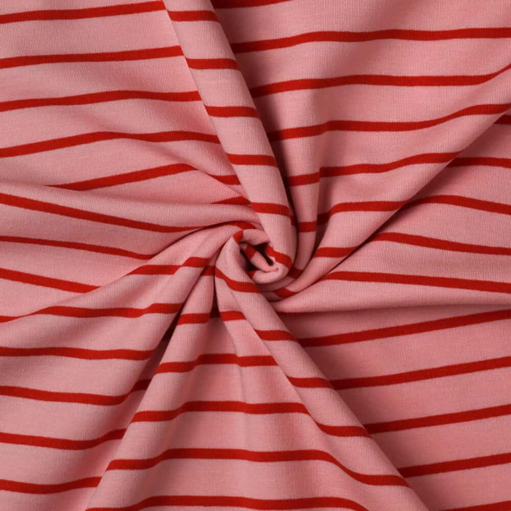 French Terry - Streifen Rosa-Rot