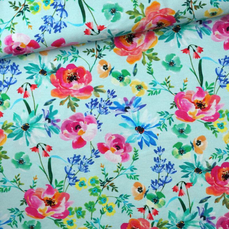 Jersey - Aquarellblumen mint