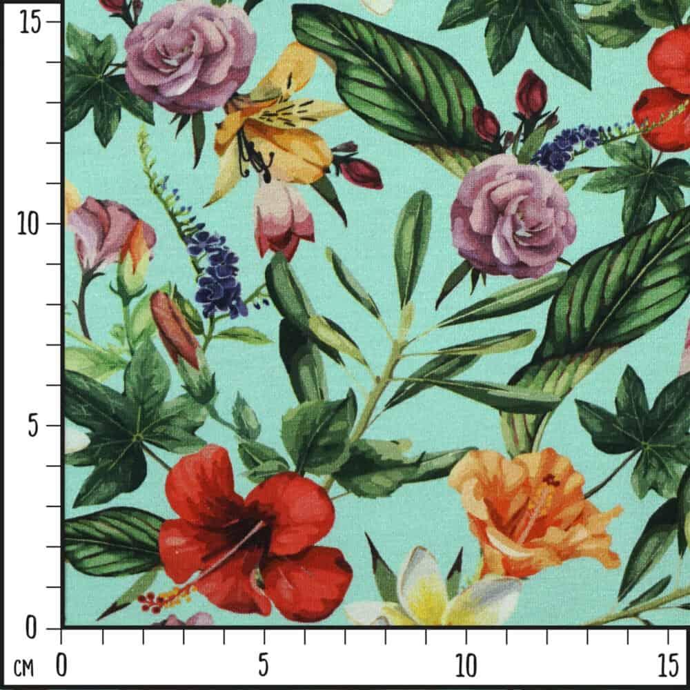 Jersey - Tropical Flowers türkis