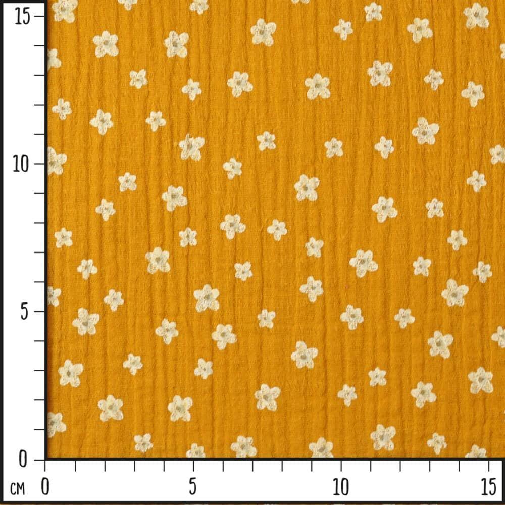 Musselin - Blumen - senf