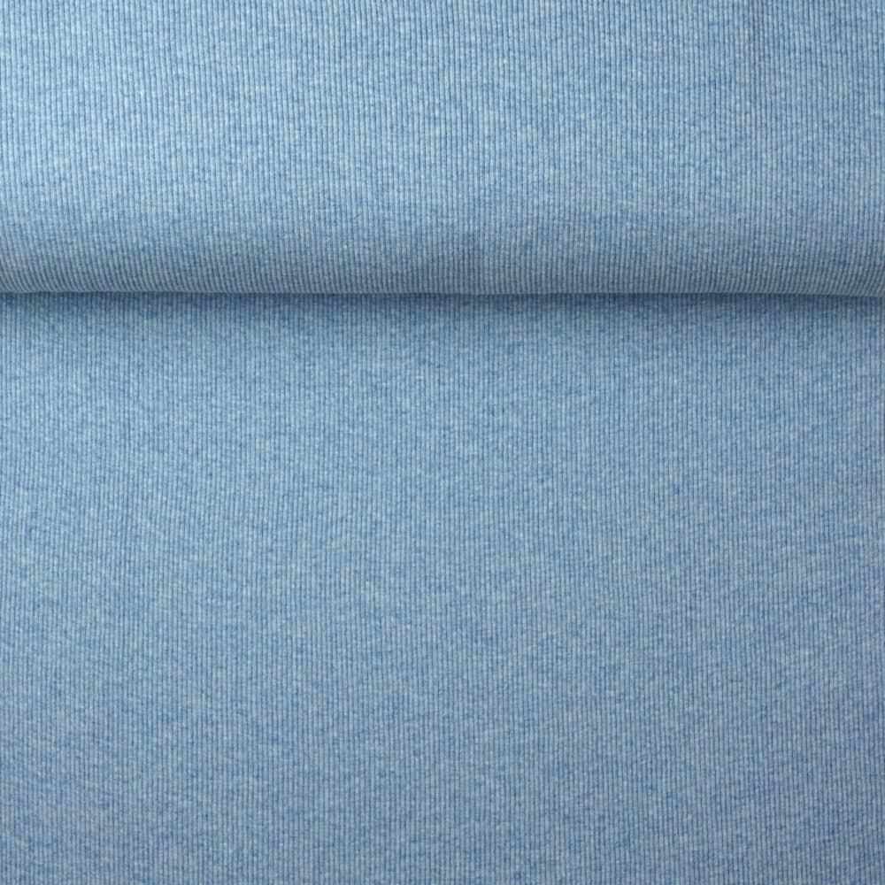 Ripp-Bündchen - Blau meliert