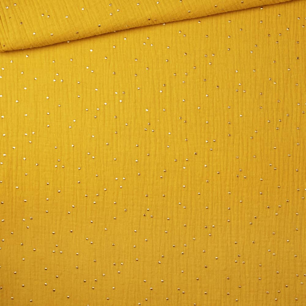 Musselin - Goldpunkte Senf