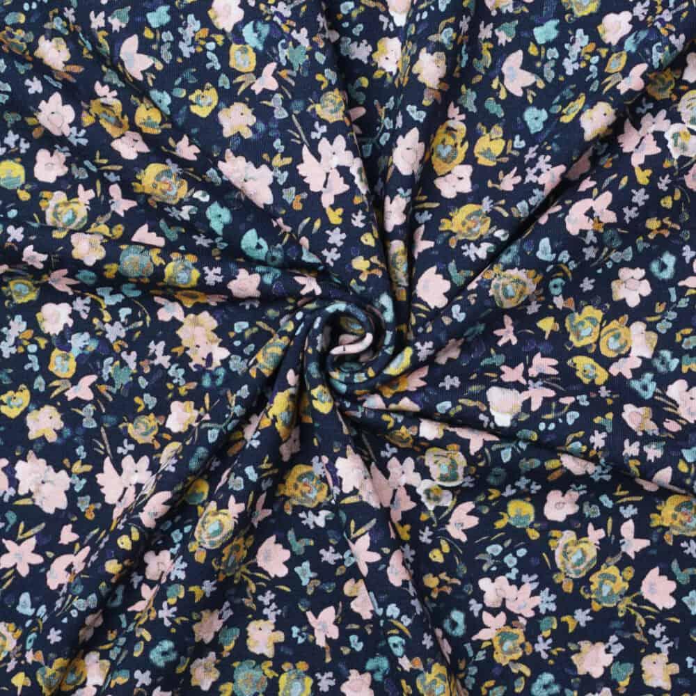 Bio-Jersey - Aquarellblümchen dunkelblau