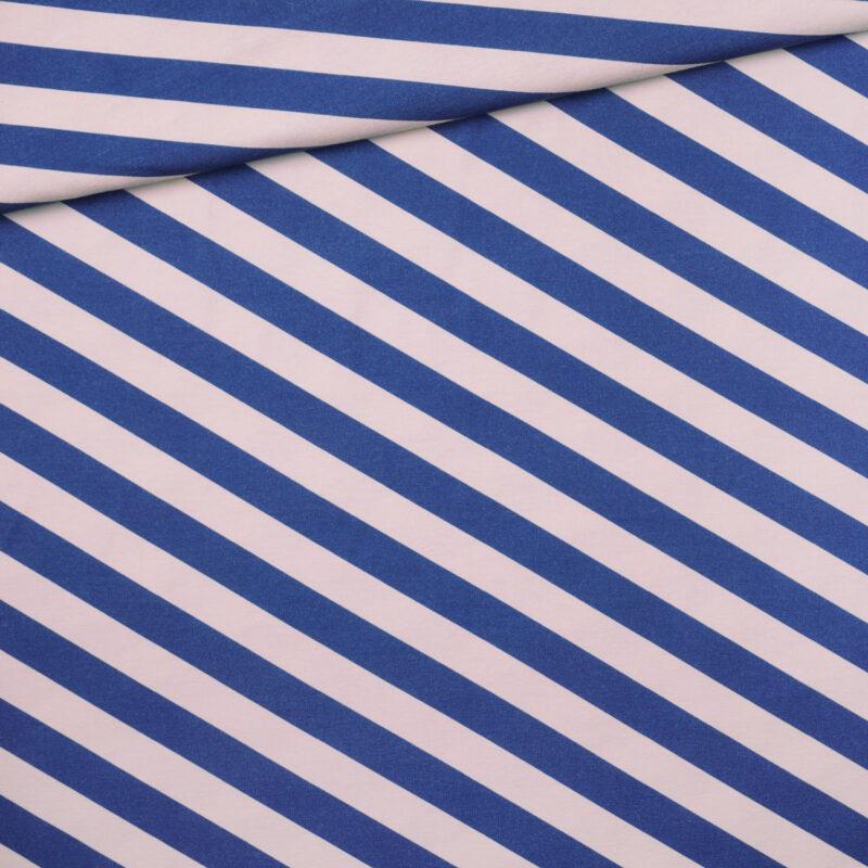 Bio-Jersey - Diagonalstreifen royalblau-lachs