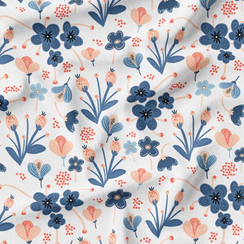 Jersey - Blue & Rose Flowers