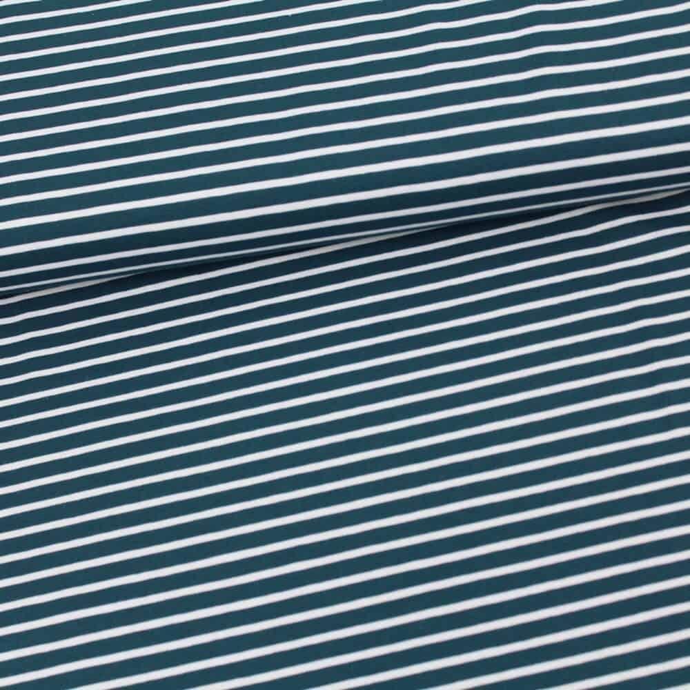 Bio-Jersey - Streifen water by night-weiß - Stoffonkel